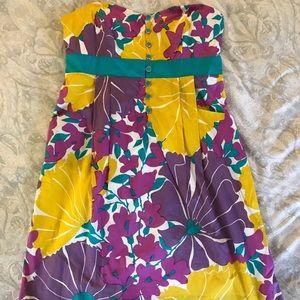 Anthropologie strapless cotton dress w/ pockets
